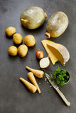 Ingredients for traditional haggis, tatties, neeps Stock Photos