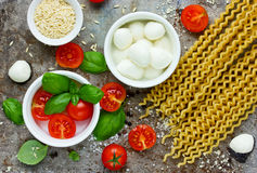 Ingredients of traditional Italian cuisine assortment. Top view royalty free stock photo