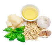 Ingredients for traditional italian sauce pesto isolated on white background. Top view Stock Photography