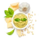 Ingredients for traditional italian sauce pesto isolated on white background. Top view Royalty Free Stock Images
