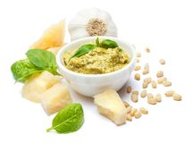 Ingredients for traditional italian sauce pesto isolated on white background. Top view Royalty Free Stock Photo