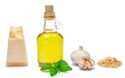 Ingredients for traditional italian sauce pesto on white background. Ingredients for traditional italian sauce pesto  on white background Stock Image
