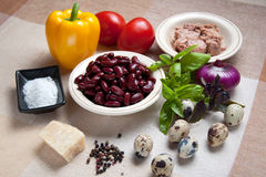 Ingredients for tuna salad and beans Royalty Free Stock Images