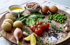 Ingredients. Tuna salad with lettuce, eggs and tomatoes. Stock Photos