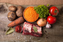 Ingredients for Turkey vegetable soup with red lentils Royalty Free Stock Photo