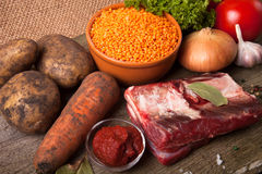 Ingredients for Turkey vegetable soup with red lentils, lying on Stock Photo