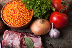 Ingredients for Turkey vegetable soup with red lentils, lying Royalty Free Stock Photo
