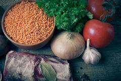 Ingredients for Turkey vegetable soup with red lentils, lying on Royalty Free Stock Photography