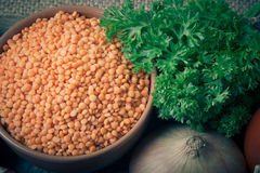 Ingredients for Turkey vegetable soup with red lentils, lying on Stock Image
