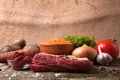 Ingredients for Turkey vegetable soup with red lentils, lying on Royalty Free Stock Images