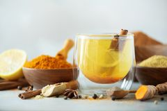 Ingredients for turmeric hot tea on grey background. Healthy ayurvedic drink with lemon, ginger, cinnamon, turmeric. Immune royalty free stock photography