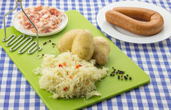 Ingredients for typical dutch dish zuurkool with sauerkraut and Stock Image
