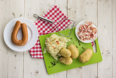 Ingredients for typical dutch dish zuurkool with sauerkraut and Royalty Free Stock Photos