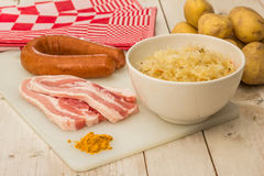 Ingredients for typical dutch dish zuurkool Royalty Free Stock Images