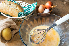 Ingredients Typical Spanish potato omelet Stock Image