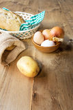 Ingredients Typical Spanish potato omelet Royalty Free Stock Image