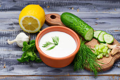Ingredients for tzatziki sauce – yogurt, cucumber, mint, dill, Stock Photos