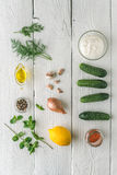 Ingredients for tzatziki on the white wooden table vertical Stock Images