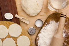 Ingredients unleavened dough Royalty Free Stock Photo