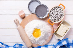 Ingredients  and utensil for making  dough Royalty Free Stock Images