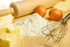 Ingredients and utensils for baking Royalty Free Stock Photography