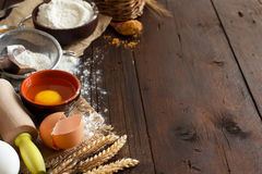 Ingredients and utensils for baking Royalty Free Stock Photos