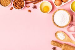 Ingredients and utensils for baking on a pastel background. Ingredients and utensils for baking on a pastel background, top view stock image