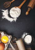 Ingredients and utensils for baking. Royalty Free Stock Photos