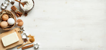 Ingredients and utensils for baking Stock Images