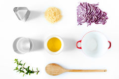 Ingredients And Utensils For Red Cabbage Risotto stock photography