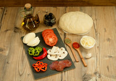 Ingredients for a vegan pizza Stock Photography