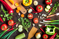 Ingredients for vegetable ragout on wooden background top view Royalty Free Stock Images