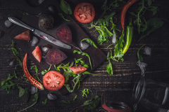 Ingredients for vegetable smoothie on the old wooden table Royalty Free Stock Images
