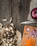 Ingredients for vegetable soup. vegetables cucumber onions potatoes carrots mushrooms Stock Image