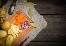 ingredients for vegetable soup. vegetables cucumber onions potatoes carrots Stock Image