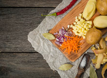 Ingredients for vegetable soup. vegetables cucumber onions potatoes carrots Stock Images