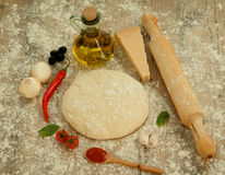 Ingredients for a vegetarian pizza Stock Photos