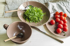 Ingredients watercress salad with cherry tomatoes Stock Images