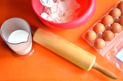 Ingredients which are needed to make a cake - farina, milk and eggs.  Royalty Free Stock Image