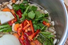 Ingredients of white bean stew Stock Photos