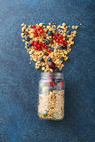 Ingrediets for healthy breakfast in glass jar Stock Photo