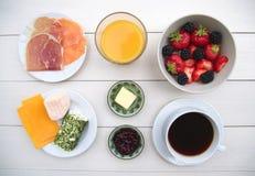 Ingrediënten van ontbijt Stock Afbeeldingen