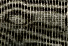 Ingrepp för kanfas för Textureof tygsäckväv naturligt brunt på svart bakgrund bakgrund för makrotexturmodell Royaltyfri Fotografi
