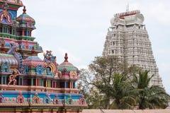 Ingressi di contrapposizione del tempio a Trichy in Tamil Nadu Fotografie Stock Libere da Diritti