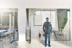 Ingresso moderno bianco e verde dell'ufficio, manifesto, uomo Fotografie Stock