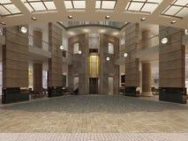 Ingresso moderno dell'hotel con spazio ed i balconi interni multilivelli L'interno dell'ingresso dell'hotel in uno stile classico royalty illustrazione gratis
