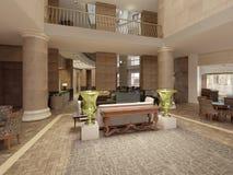 Ingresso moderno dell'hotel con spazio ed i balconi interni multilivelli L'interno dell'ingresso dell'hotel in uno stile classico illustrazione vettoriale