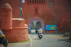 Ingresso portoghese antico nel Gujarat fotografia stock libera da diritti