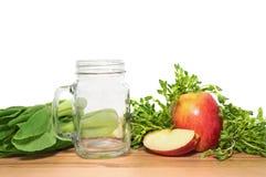 Ingridientes voor smoothie voor gewichtsverlies met een lege metselaar ja stock foto