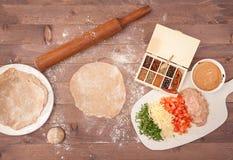 Ingridients για το taco στο ξύλινο υπόβαθρο Στοκ φωτογραφία με δικαίωμα ελεύθερης χρήσης
